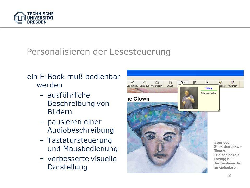 Personalisieren der Lesesteuerung ein E-Book muß bedienbar werden –ausführliche Beschreibung von Bildern –pausieren einer Audiobeschreibung –Tastaturs
