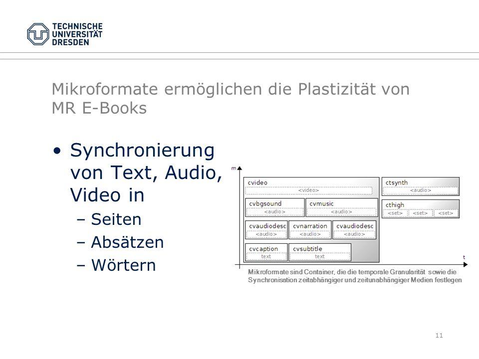 Mikroformate ermöglichen die Plastizität von MR E-Books Synchronierung von Text, Audio, Video in –Seiten –Absätzen –Wörtern 11 Mikroformate sind Conta