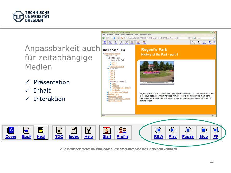 Anpassbarkeit auch für zeitabhängige Medien Präsentation Inhalt Interaktion 12 Alle Bedienelemente im Multireader Leseprogramm sind mit Containern ver