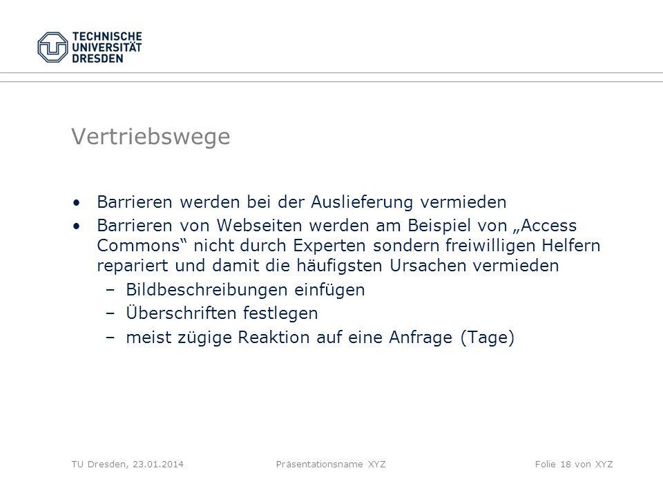Vertriebswege Barrieren werden bei der Auslieferung vermieden Barrieren von Webseiten werden am Beispiel von Access Commons nicht durch Experten sonde