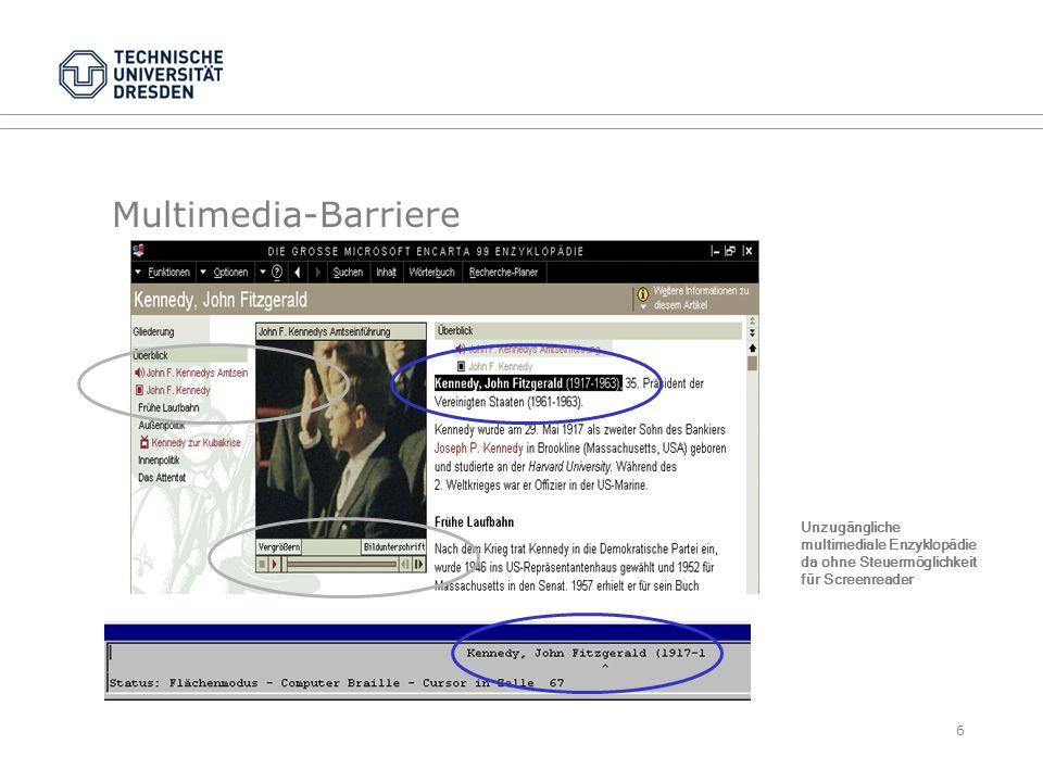 Die Multimedia-Barriere betrifft auch Hörbücher Multimediale E-Books als Hörbuch sind gut strukturiert und leicht steuerbar aber: für manche hörbehinderte und alle gehörlosen Leser untauglich Hörbuchbibliotheken können von Lesern kaum selbst durchstöbert werden Libraries of Tomorrow7 Umea Stadtbibliothek unterstützt RFID für Hörbücher Eine CD-Sammlung ist kein Archiv DAISY Abspielgerät