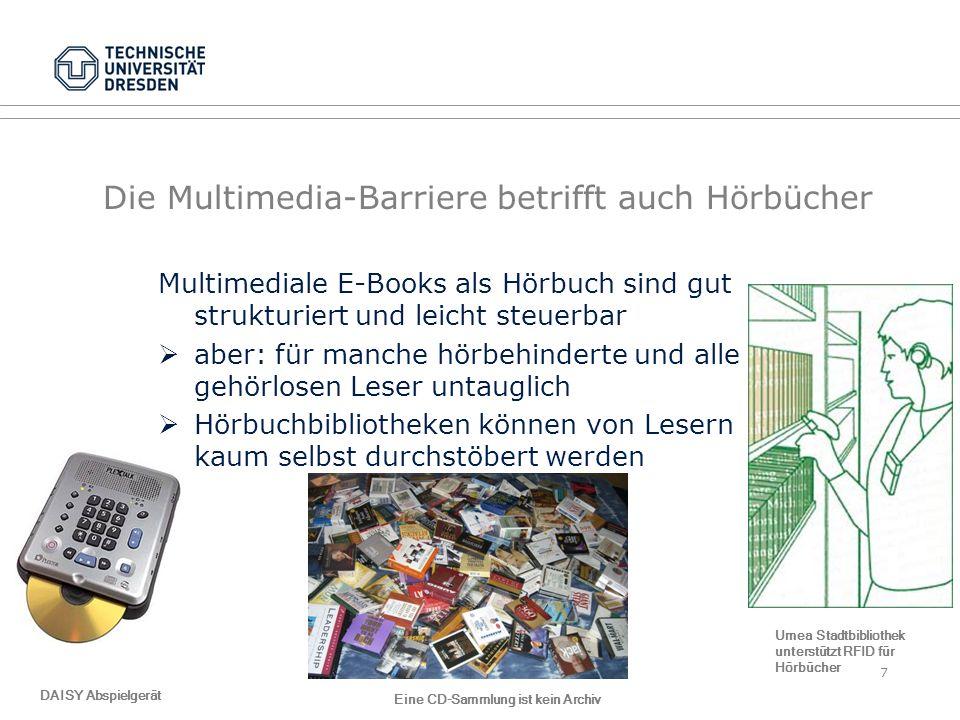 Vertriebswege Barrieren werden bei der Auslieferung vermieden Barrieren von Webseiten werden am Beispiel von Access Commons nicht durch Experten sondern freiwilligen Helfern repariert und damit die häufigsten Ursachen vermieden –Bildbeschreibungen einfügen –Überschriften festlegen –meist zügige Reaktion auf eine Anfrage (Tage) TU Dresden, 23.01.2014Präsentationsname XYZFolie 18 von XYZ