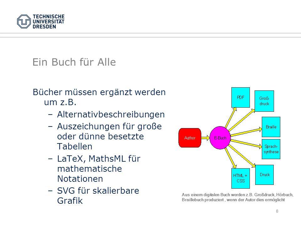 Ausblick: Kollaborative Barrierefreiheit Kollaborative Barrierefreiheit ist eine proaktive Technik zur Erkennung von Barrieren im Informationsfluß zwischen Autoren und Lesern deren Beseitigung durch Dritte möglich ist, wenn die Lesergruppen ähnliche Anforderungen haben und durch automatisierte Verfahren eine Qualitätssicherung unterstützt wird räumliche und zeitliche Unabhängigkeit wird durch Techniken des Web 2.0 möglich Beispiele für Anwendungsgebiete –Webseiten –Karten –E-Books –E-Learning 19