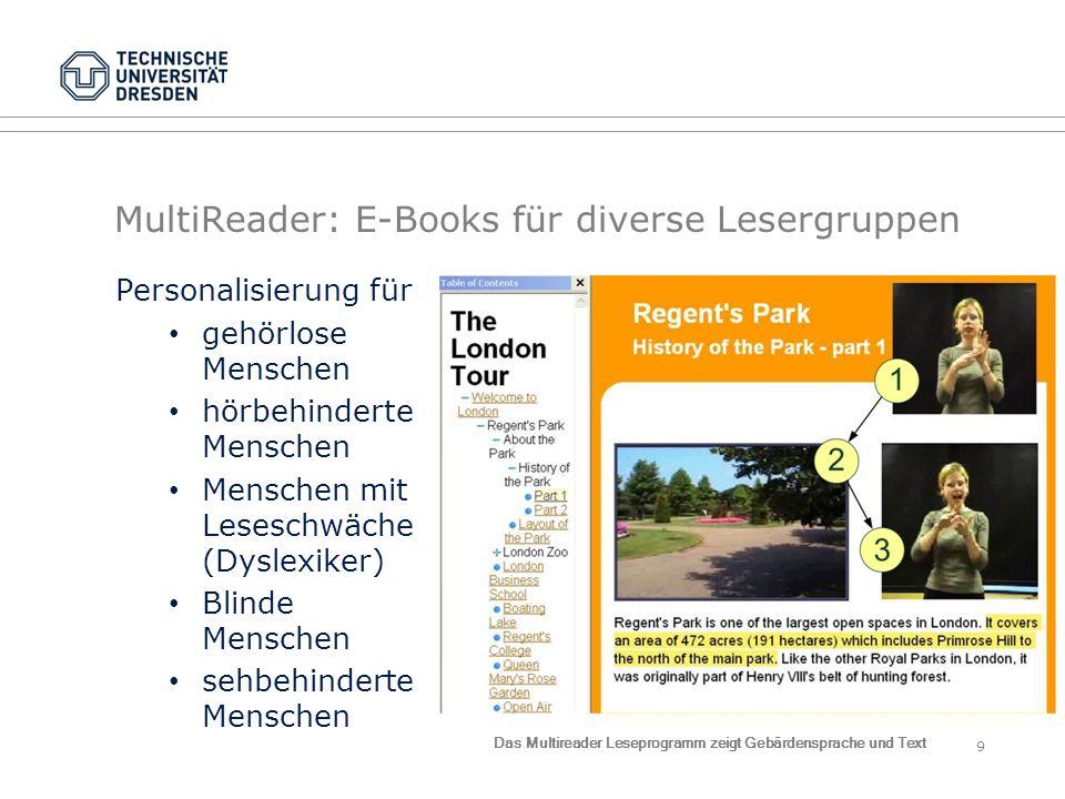 MultiReader: E-Books für diverse Lesergruppen Personalisierung für gehörlose Menschen hörbehinderte Menschen Menschen mit Leseschwäche (Dyslexiker) Bl