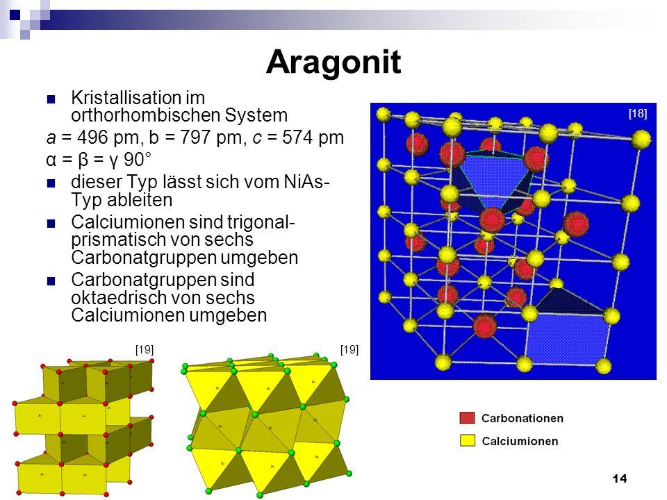 14 Aragonit Kristallisation im orthorhombischen System a = 496 pm, b = 797 pm, c = 574 pm α = β = γ 90° dieser Typ lässt sich vom NiAs- Typ ableiten C