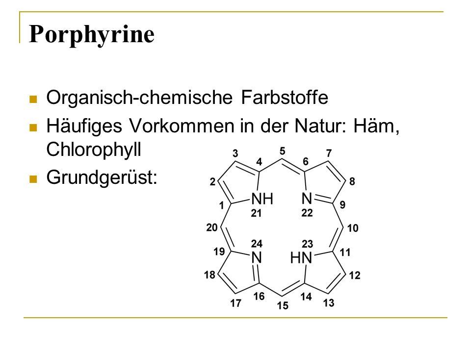 Porphyrine Organisch-chemische Farbstoffe Häufiges Vorkommen in der Natur: Häm, Chlorophyll Grundgerüst:
