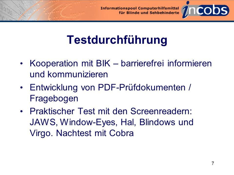 6 Prüfinteresse Wie gut können Screenreader barrierefreie PDF-Dokumente und PDF-Dokumente mit leichten Fehlern zugänglich machen
