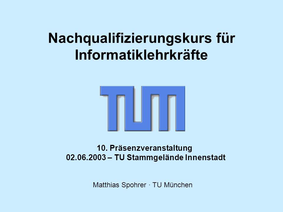 Nachqualifizierungskurs für Informatiklehrkräfte Matthias Spohrer · TU München Seite 12 Übung 1 Eine Bank benötigt Software zur Abwicklung von Autokrediten.