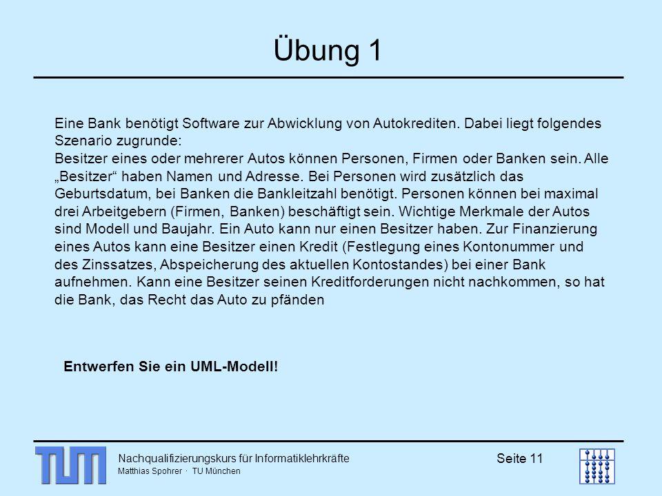 Nachqualifizierungskurs für Informatiklehrkräfte Matthias Spohrer · TU München Seite 11 Übung 1 Eine Bank benötigt Software zur Abwicklung von Autokrediten.
