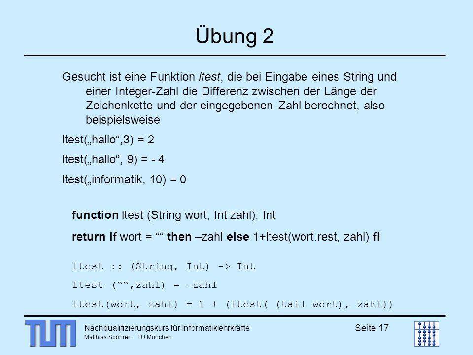 Nachqualifizierungskurs für Informatiklehrkräfte Matthias Spohrer · TU München Seite 17 Übung 2 Gesucht ist eine Funktion ltest, die bei Eingabe eines String und einer Integer-Zahl die Differenz zwischen der Länge der Zeichenkette und der eingegebenen Zahl berechnet, also beispielsweise ltest(hallo,3) = 2 ltest(hallo, 9) = - 4 ltest(informatik, 10) = 0 function ltest (String wort, Int zahl): Int return if wort = then –zahl else 1+ltest(wort.rest, zahl) fi ltest :: (String, Int) -> Int ltest (,zahl) = -zahl ltest(wort, zahl) = 1 + (ltest( (tail wort), zahl))