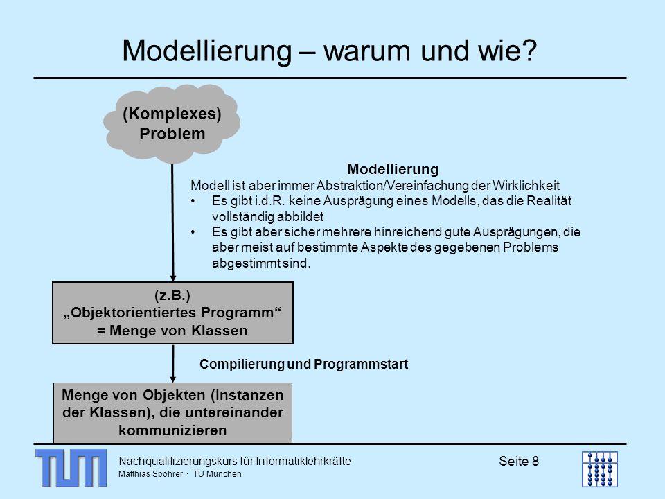 Nachqualifizierungskurs für Informatiklehrkräfte Matthias Spohrer · TU München Seite 19 Übung: Liste Listen in Haskell [ a ] String als spezielle Liste [char] Mit : wird ein Element vor einer Liste angefügt (x:xe) tail (x:xe) wäre dann die Liste xe produkt :: [Int] -> Int produkt [] = 1 produkt (x:xe) = x * produkt xe