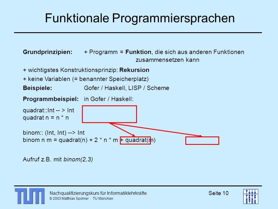 Nachqualifizierungskurs für Informatiklehrkräfte © 2003 Matthias Spohrer · TU München Seite 10 Funktionale Programmiersprachen Grundprinzipien: + Programm = Funktion, die sich aus anderen Funktionen zusammensetzen kann + wichtigstes Konstruktionsprinzip: Rekursion + keine Variablen (= benannter Speicherplatz) Beispiele: Gofer / Haskell, LISP / Scheme Programmbeispiel:in Gofer / Haskell: quadrat::Int -- > Int quadrat n = n * n binom:: (Int, Int) --> Int binom n m = quadrat(n) + 2 * n * m + quadrat(m) Aufruf z.B.