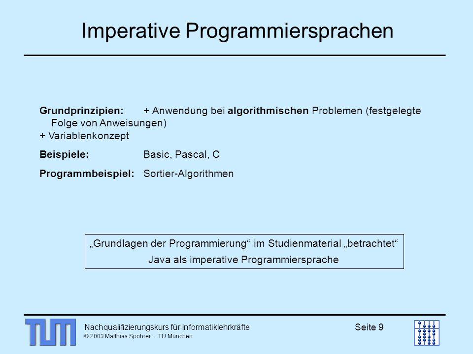 Nachqualifizierungskurs für Informatiklehrkräfte © 2003 Matthias Spohrer · TU München Seite 30 Quicksort(a, links, rechts) 314280985314280985 Wähle mittleres Element z.B.