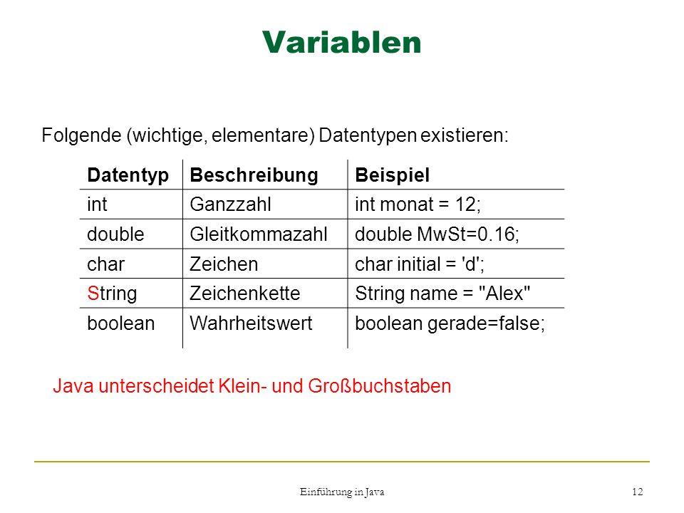 Einführung in Java 12 Variablen Folgende (wichtige, elementare) Datentypen existieren: DatentypBeschreibungBeispiel intGanzzahlint monat = 12; doubleG