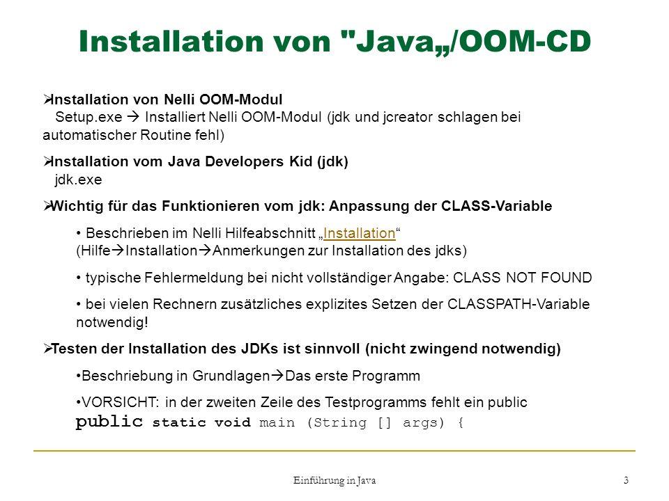 Einführung in Java 3 Installation von