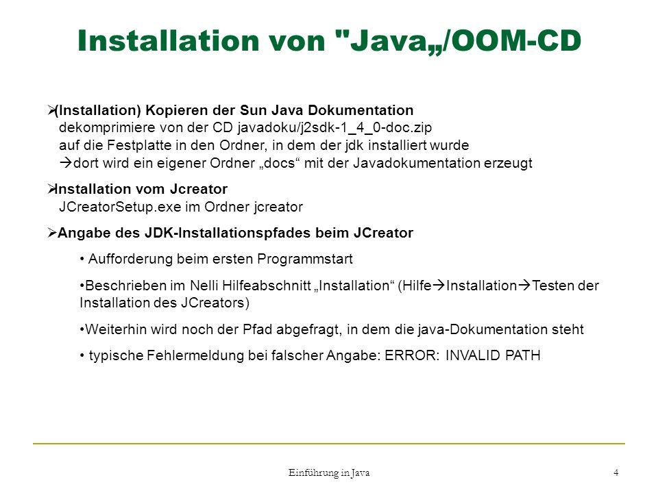 Einführung in Java 4 Installation von