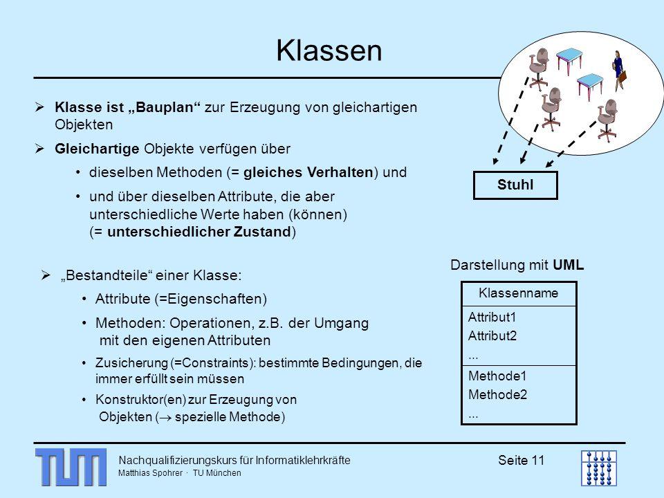 Nachqualifizierungskurs für Informatiklehrkräfte Matthias Spohrer · TU München Seite 11 Klassen Klasse ist Bauplan zur Erzeugung von gleichartigen Obj
