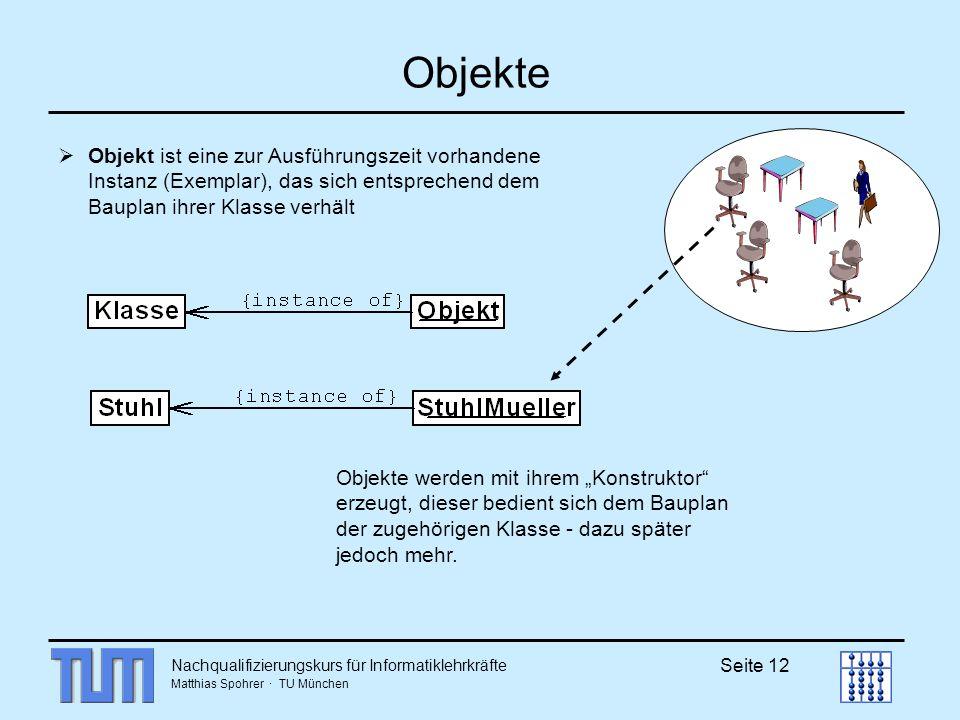 Nachqualifizierungskurs für Informatiklehrkräfte Matthias Spohrer · TU München Seite 12 Objekte Objekt ist eine zur Ausführungszeit vorhandene Instanz