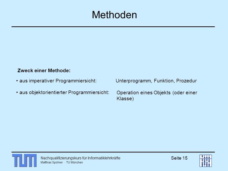 Nachqualifizierungskurs für Informatiklehrkräfte Matthias Spohrer · TU München Seite 15 Methoden Zweck einer Methode: aus imperativer Programmiersicht