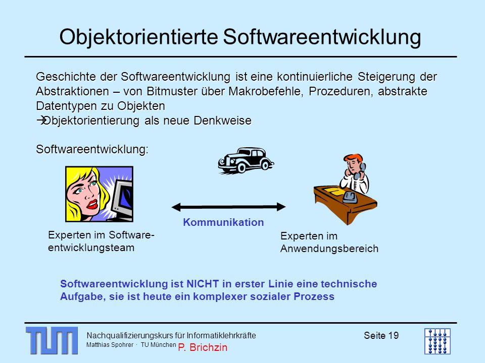 Nachqualifizierungskurs für Informatiklehrkräfte Matthias Spohrer · TU München Seite 19 Objektorientierte Softwareentwicklung Geschichte der Softwaree