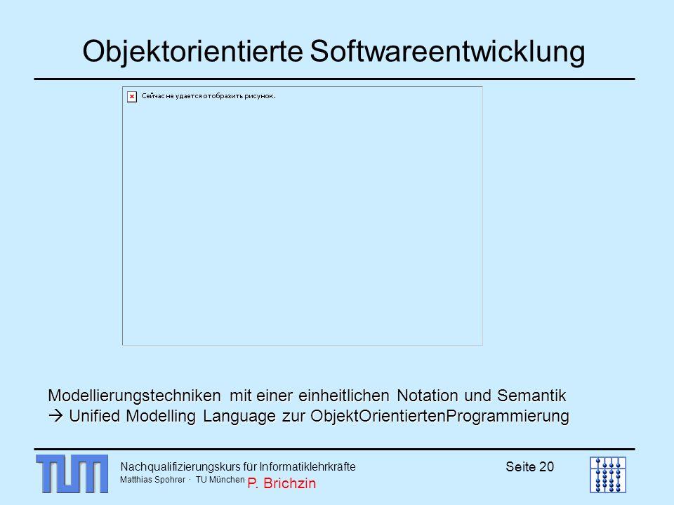 Nachqualifizierungskurs für Informatiklehrkräfte Matthias Spohrer · TU München Seite 20 Objektorientierte Softwareentwicklung Modellierungstechniken m
