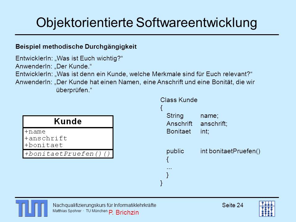 Nachqualifizierungskurs für Informatiklehrkräfte Matthias Spohrer · TU München Seite 24 Objektorientierte Softwareentwicklung Beispiel methodische Dur