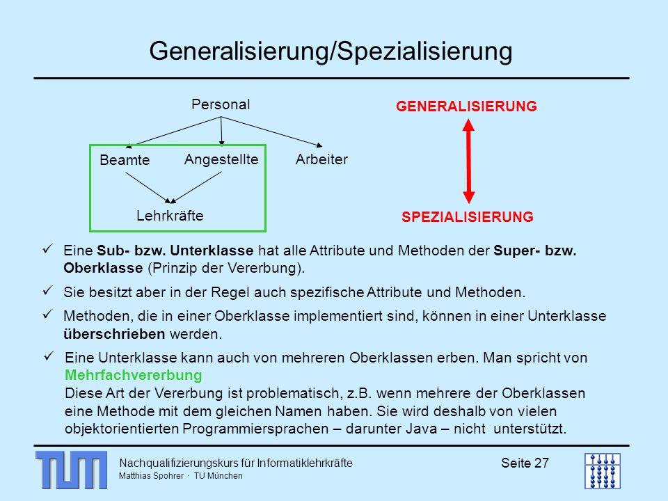 Nachqualifizierungskurs für Informatiklehrkräfte Matthias Spohrer · TU München Seite 27 Generalisierung/Spezialisierung Personal Beamte AngestellteArb
