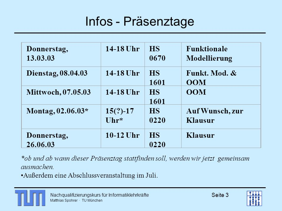 Nachqualifizierungskurs für Informatiklehrkräfte Matthias Spohrer · TU München Seite 3 Infos - Präsenztage Donnerstag, 13.03.03 14-18 UhrHS 0670 Funkt