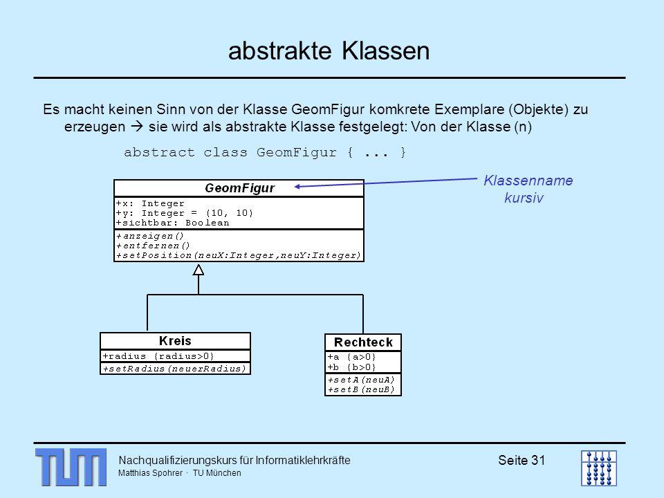 Nachqualifizierungskurs für Informatiklehrkräfte Matthias Spohrer · TU München Seite 31 abstrakte Klassen Es macht keinen Sinn von der Klasse GeomFigu