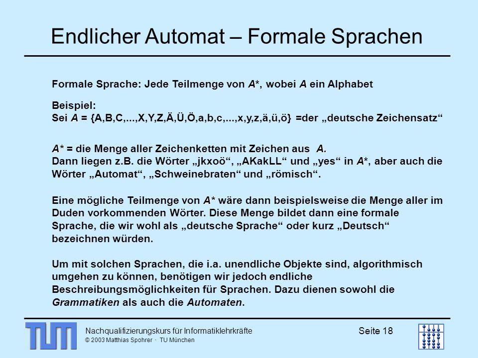 Nachqualifizierungskurs für Informatiklehrkräfte © 2003 Matthias Spohrer · TU München Seite 18 Endlicher Automat – Formale Sprachen AA Formale Sprache: Jede Teilmenge von A*, wobei A ein Alphabet Beispiel: A Sei A = {A,B,C,...,X,Y,Z,Ä,Ü,Ö,a,b,c,...,x,y,z,ä,ü,ö} =der deutsche Zeichensatz A*A.