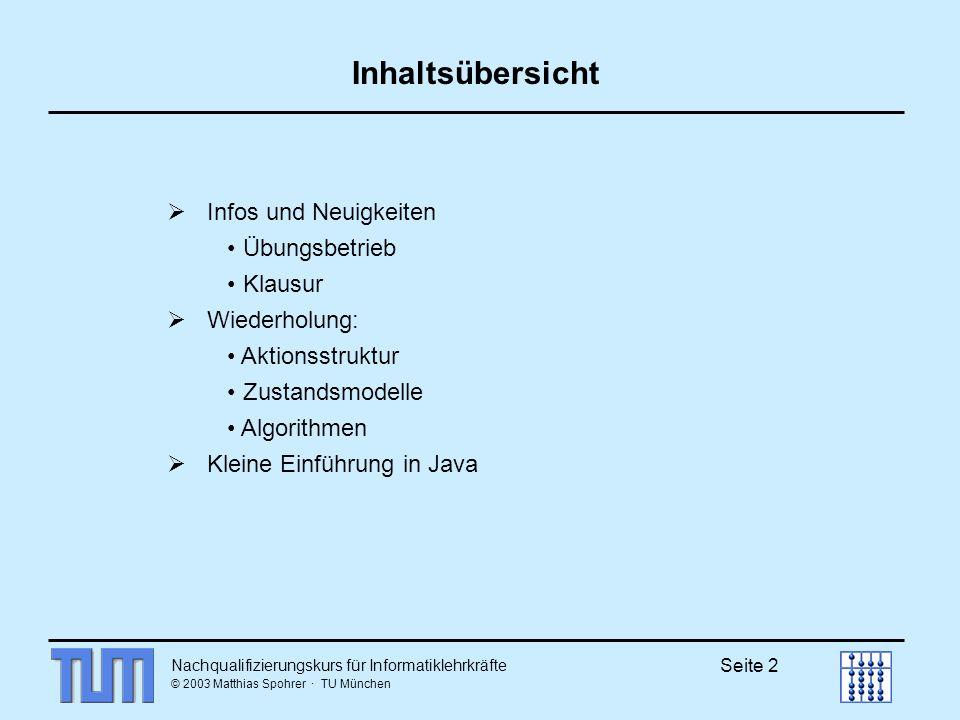 Nachqualifizierungskurs für Informatiklehrkräfte © 2003 Matthias Spohrer · TU München Seite 23 Erweiterung des endlichen Automaten Mealy-Automat (Mealy-Maschine) endlicher Automat und zusätzlich Ausgabe A und Ausgabefunktion : (Z×E) A und ohne Endzustände (6-Tupel) z1 e / a z2 Moore-Automat (Moore-Maschine) Mealy-Automat nur : Z A (6-Tupel) z1 e z2 a Prinzip des ZÜD:
