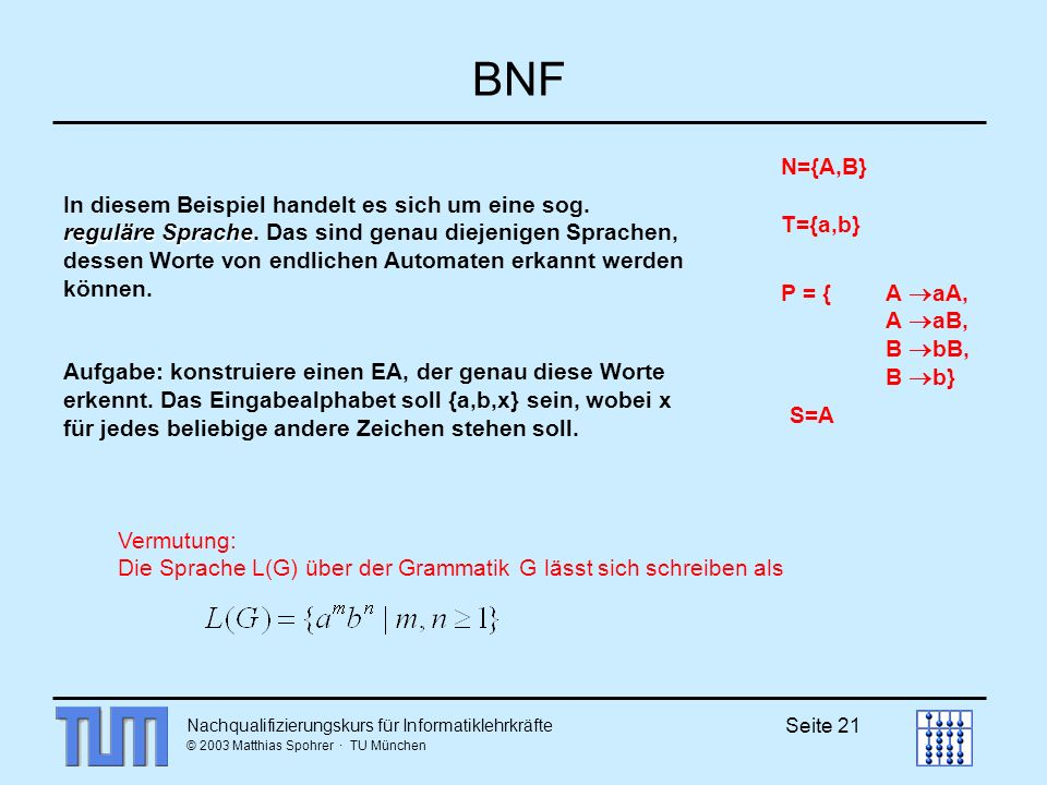 Nachqualifizierungskurs für Informatiklehrkräfte © 2003 Matthias Spohrer · TU München Seite 21 BNF T={a,b} N={A,B} P = {A aA, A aB, B bB, B b} S=A Vermutung: Die Sprache L(G) über der Grammatik G lässt sich schreiben als reguläre Sprache In diesem Beispiel handelt es sich um eine sog.