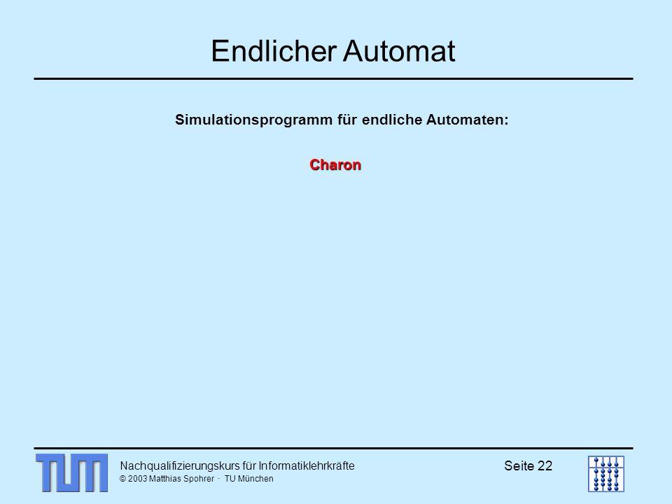 Nachqualifizierungskurs für Informatiklehrkräfte © 2003 Matthias Spohrer · TU München Seite 22 Endlicher Automat Charon Simulationsprogramm für endliche Automaten: