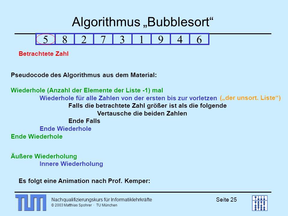 Nachqualifizierungskurs für Informatiklehrkräfte © 2003 Matthias Spohrer · TU München Seite 25 Algorithmus Bubblesort Pseudocode des Algorithmus aus dem Material: Wiederhole (Anzahl der Elemente der Liste -1) mal Wiederhole für alle Zahlen von der ersten bis zur vorletzen Falls die betrachtete Zahl größer ist als die folgende Vertausche die beiden Zahlen Ende Falls Ende Wiederhole Äußere Wiederholung Innere Wiederholung 582731946 Es folgt eine Animation nach Prof.