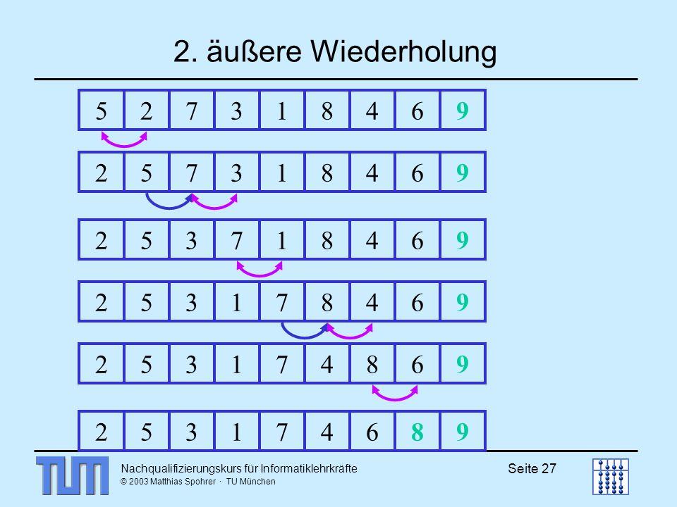 Nachqualifizierungskurs für Informatiklehrkräfte © 2003 Matthias Spohrer · TU München Seite 27 2. äußere Wiederholung 52731846925731846925371846925317