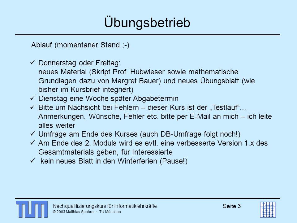 Nachqualifizierungskurs für Informatiklehrkräfte © 2003 Matthias Spohrer · TU München Seite 3 Übungsbetrieb Ablauf (momentaner Stand ;-) Donnerstag od