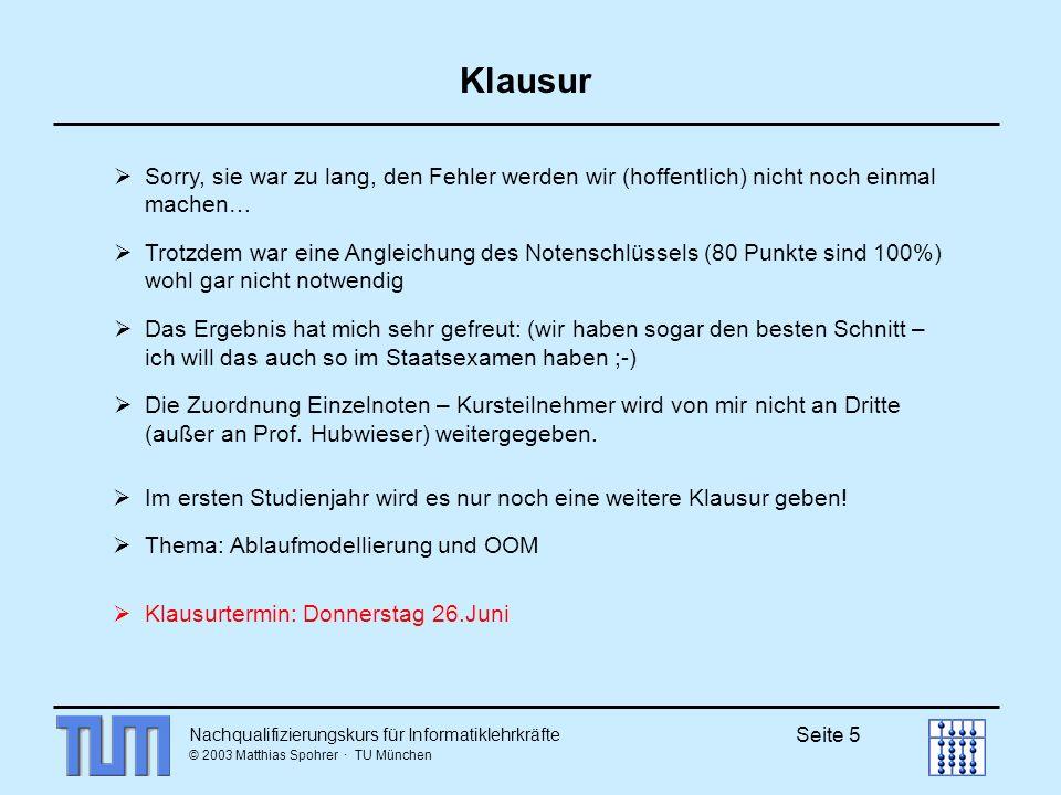 Nachqualifizierungskurs für Informatiklehrkräfte © 2003 Matthias Spohrer · TU München Seite 16 Endlicher Automat Ein (deterministischer) endlicher Automat M (kurz DFA) ist gegeben durch ein 5-Tupel, wobei Z := endliche Menge der Zustände, := Eingabealphabet (endlich!), es gilt Z : Z Z heißt Überführungsfunktion, z 0 := Startzustand (z 0 Z), E := Menge der Endzustände (E Z).