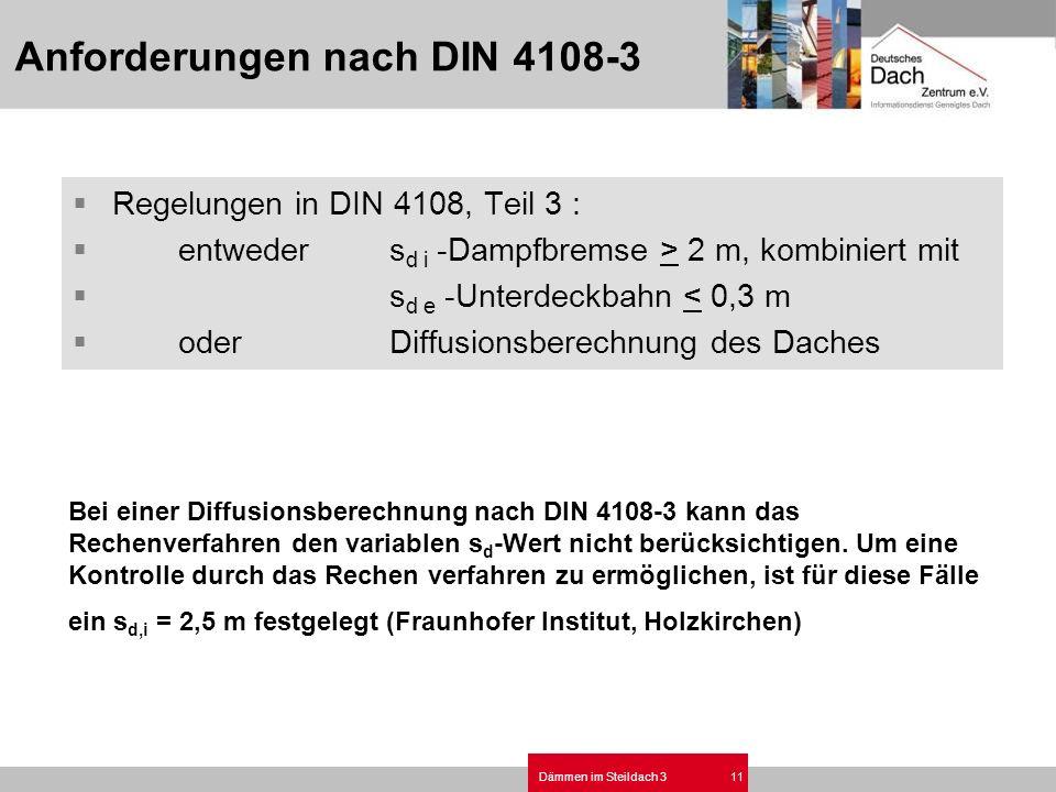 Dämmen im Steildach 311 Regelungen in DIN 4108, Teil 3 : entweders d i -Dampfbremse > 2 m, kombiniert mit s d e -Unterdeckbahn < 0,3 m oderDiffusionsb