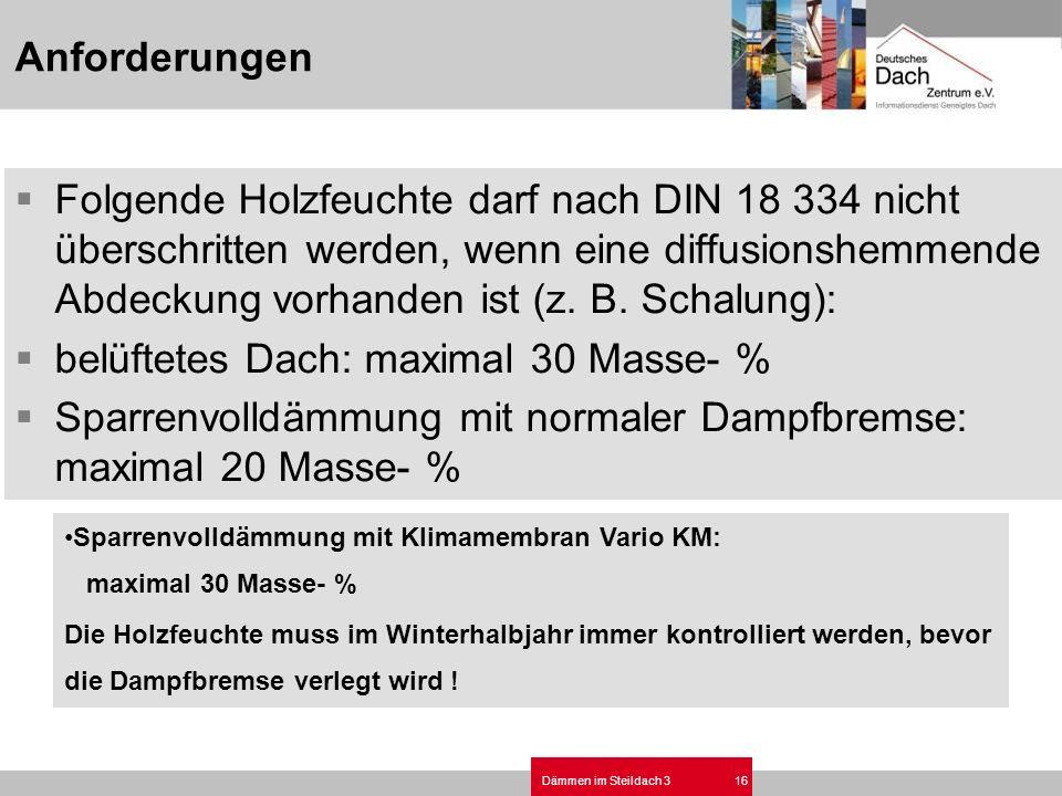 Dämmen im Steildach 316 Folgende Holzfeuchte darf nach DIN 18 334 nicht überschritten werden, wenn eine diffusionshemmende Abdeckung vorhanden ist (z.