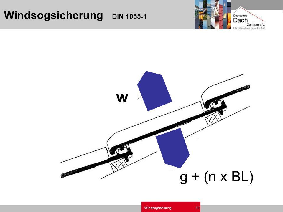 Windsogsicherung16 Windsogsicherung DIN 1055-1 w g + (n x BL)