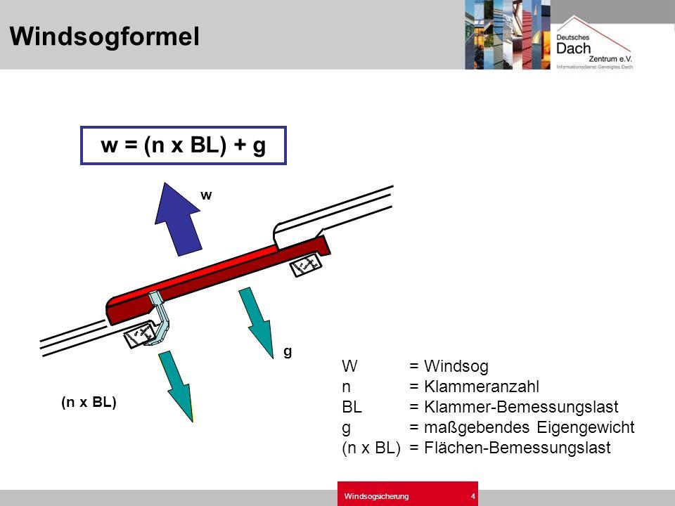 Windsogsicherung4 W= Windsog n= Klammeranzahl BL= Klammer-Bemessungslast g= maßgebendes Eigengewicht (n x BL)= Flächen-Bemessungslast w = (n x BL) + g Windsogformel