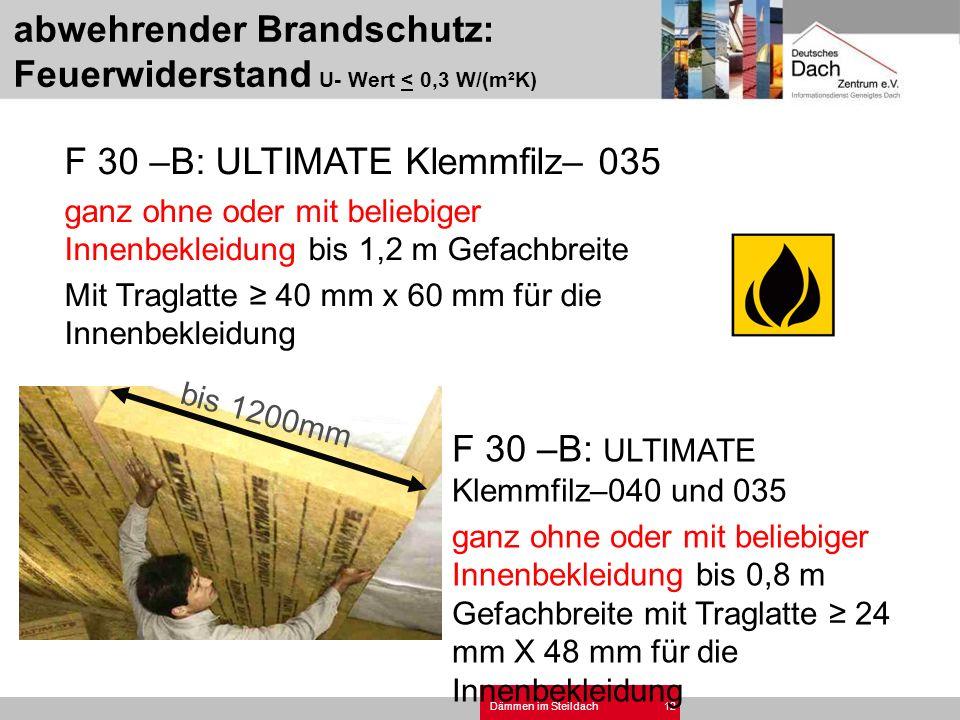 Dämmen im Steildach12 F 30 –B: ULTIMATE Klemmfilz– 035 ganz ohne oder mit beliebiger Innenbekleidung bis 1,2 m Gefachbreite Mit Traglatte 40 mm x 60 m