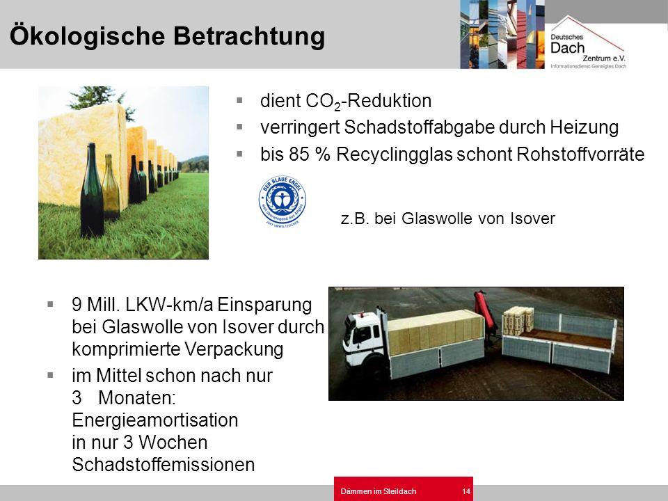 Dämmen im Steildach14 dient CO 2 -Reduktion verringert Schadstoffabgabe durch Heizung bis 85 % Recyclingglas schont Rohstoffvorräte 9 Mill. LKW-km/a E