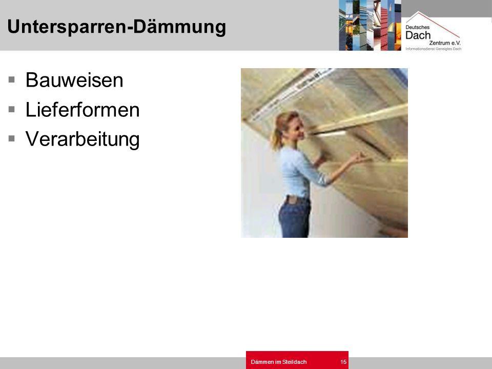 Dämmen im Steildach15 Untersparren-Dämmung Bauweisen Lieferformen Verarbeitung