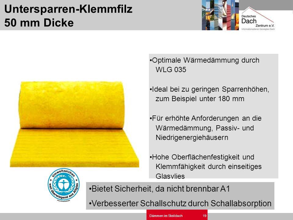 Dämmen im Steildach19 Optimale Wärmedämmung durch WLG 035 Ideal bei zu geringen Sparrenhöhen, zum Beispiel unter 180 mm Für erhöhte Anforderungen an d