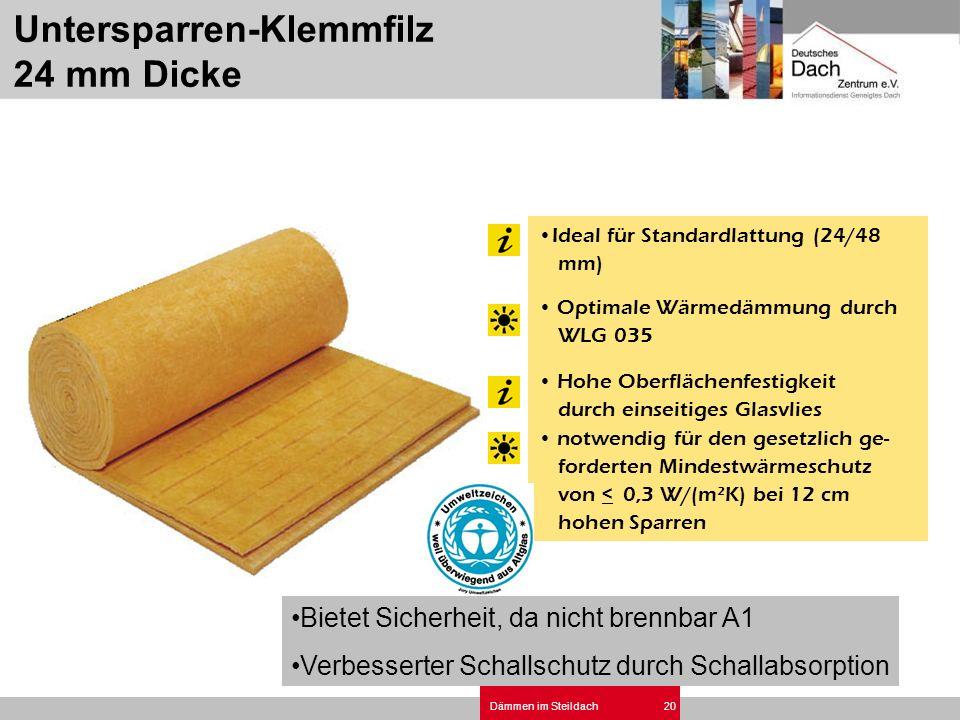 Dämmen im Steildach20 Ideal für Standardlattung (24/48 mm) Optimale Wärmedämmung durch WLG 035 Hohe Oberflächenfestigkeit durch einseitiges Glasvlies