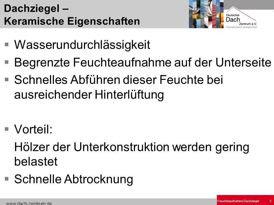 www.dach-zentrum.de Feuchteaufnahme Dachziegel2 Dachziegel – Keramische Eigenschaften Wasserundurchlässigkeit Begrenzte Feuchteaufnahme auf der Unters
