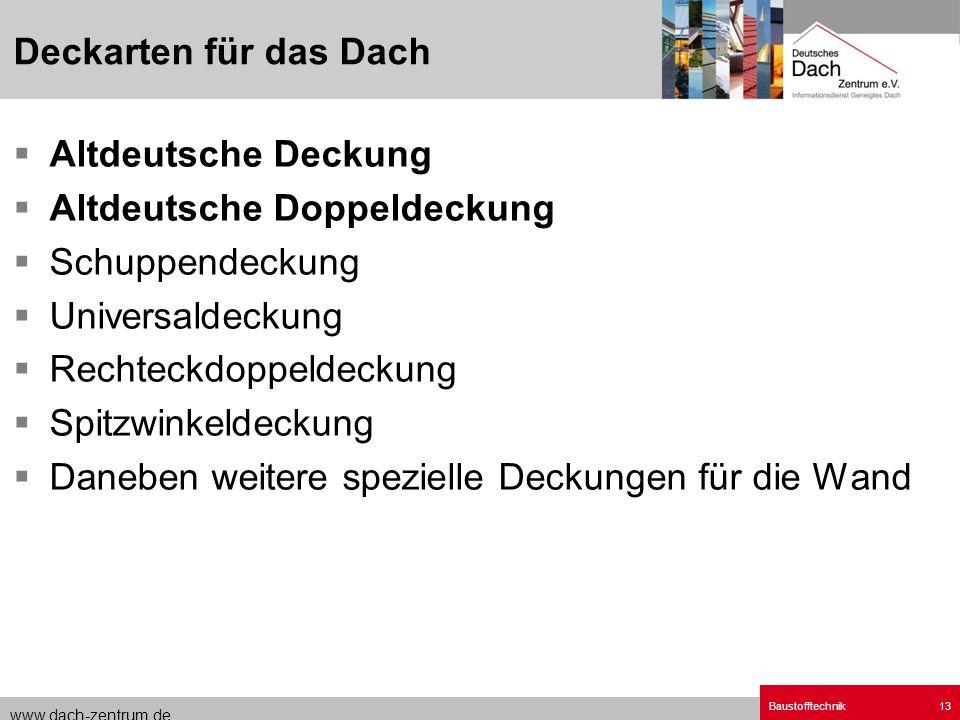 www.dach-zentrum.de Baustofftechnik13 Altdeutsche Deckung Altdeutsche Doppeldeckung Schuppendeckung Universaldeckung Rechteckdoppeldeckung Spitzwinkel