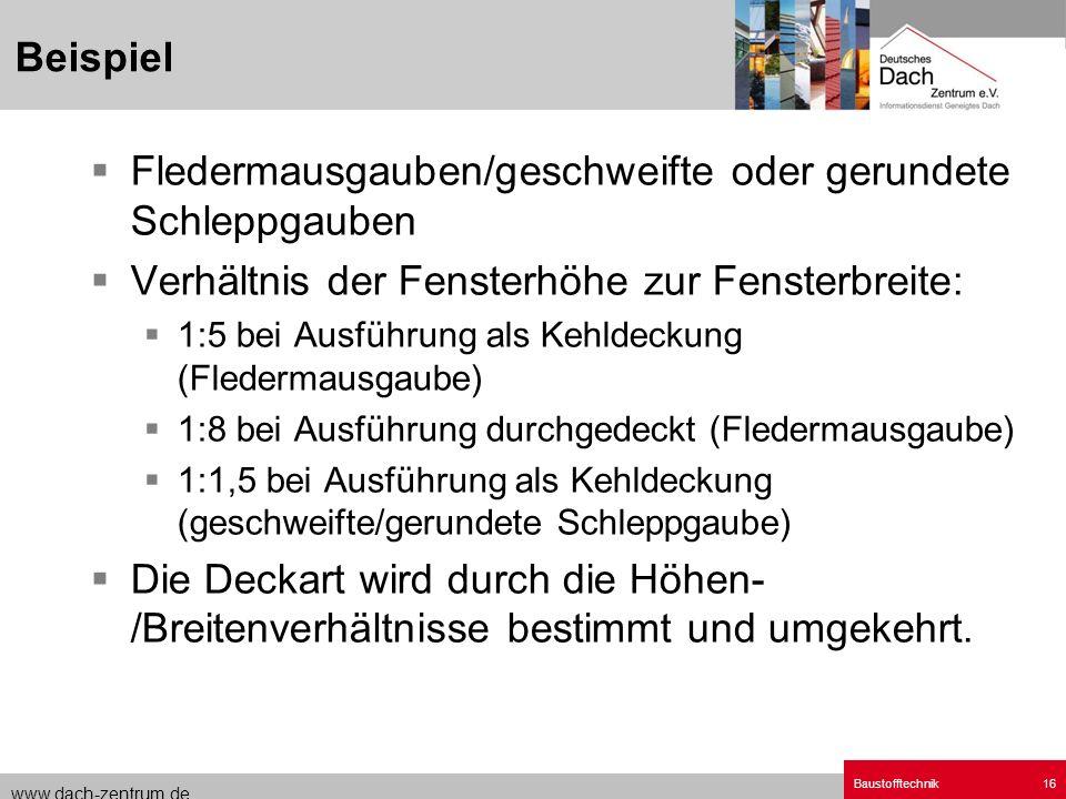 www.dach-zentrum.de Baustofftechnik16 Fledermausgauben/geschweifte oder gerundete Schleppgauben Verhältnis der Fensterhöhe zur Fensterbreite: 1:5 bei