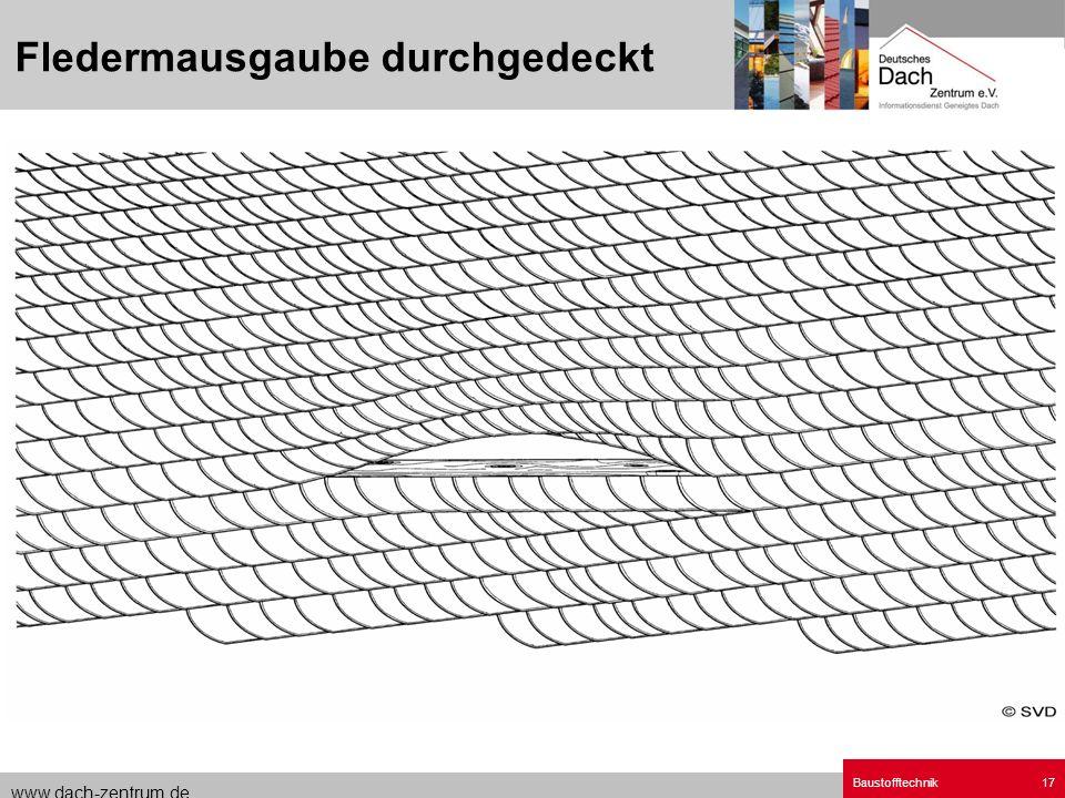 www.dach-zentrum.de Baustofftechnik17 Fledermausgaube durchgedeckt